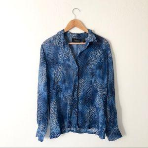 Dana Buchman Blue Print Silk Blouse